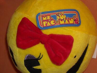 "NWT 7"" yellow RED bow MS. PAC MAN NAMCO BANDAI stuffed doll PLUSH TOY"