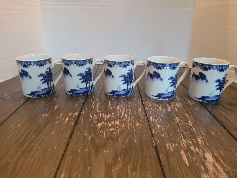 "Set of 5 Canton Blue 3 1/4"" Mugs"