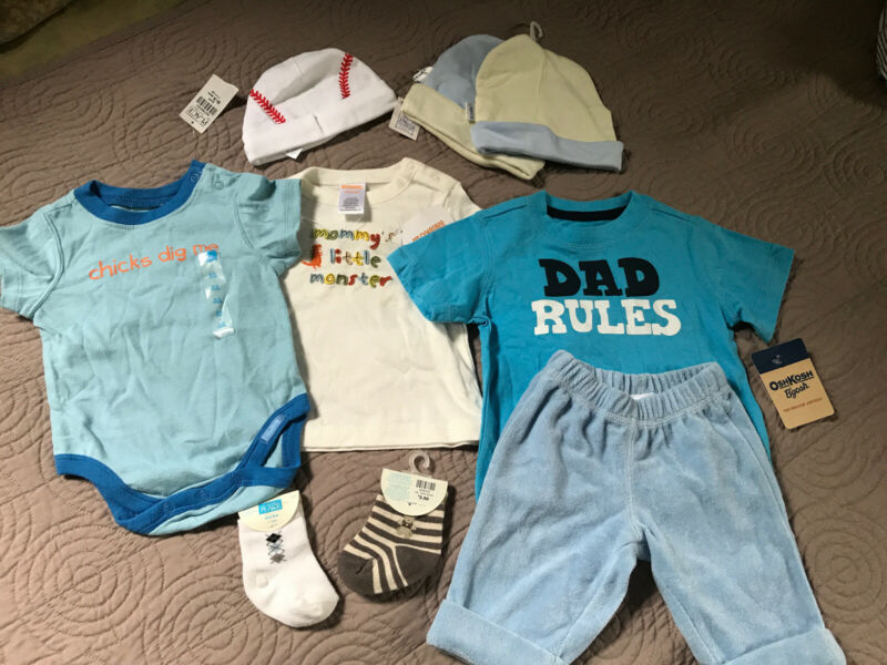 Baby Boys Clothing Lot Sizes 0-12 Months 9 Pieces Brand New Different Sizes