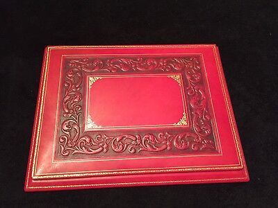 Luxury Bontruper Carved Genuine Leather 24k Gold Gilded Desk Blotter Mothers Day
