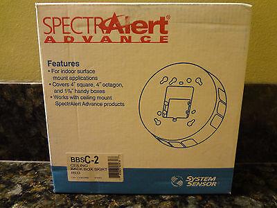 New System Sensor Spectralert Advance Bbsc-2 Ceiling Back Box Skirt Red Bbsc2