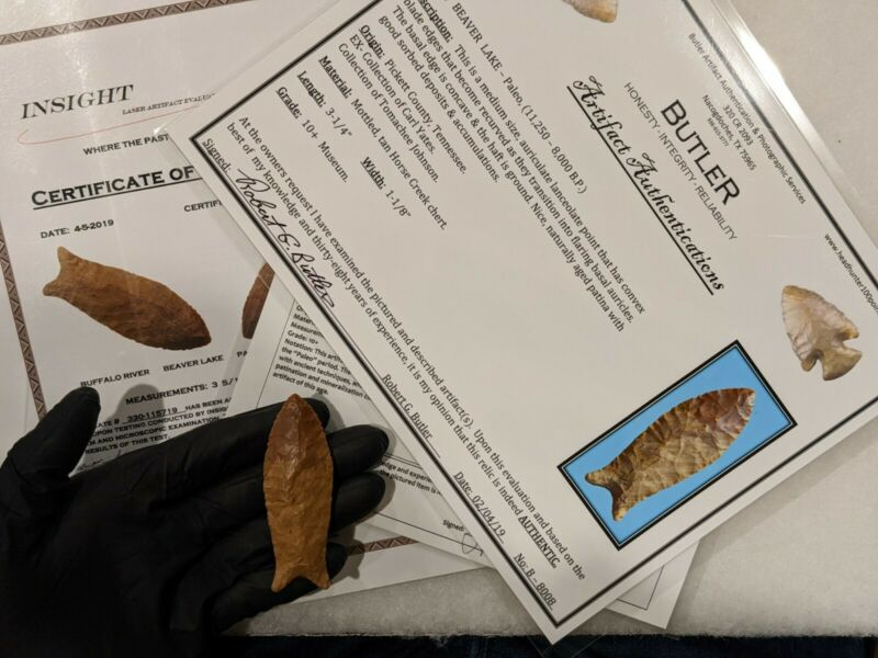 *Tomachee Artifacts* 🌟 3x COA BEAVER LAKE OLD PALEO 10500 BP 10+/MUSEUM 🌟