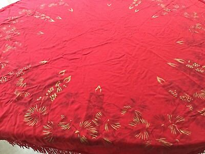 Vintage Tablecloth Christmas Red Round, Fringe, Gold Pine and Candles