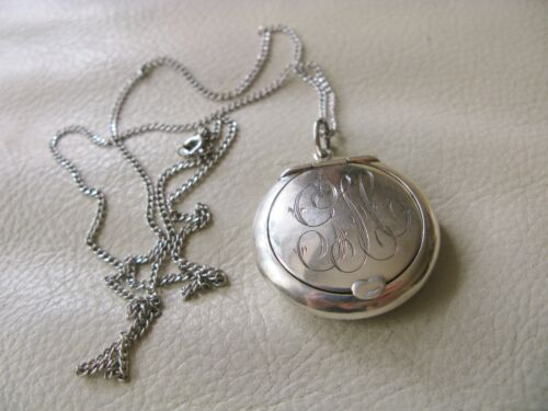 Antique STERLING Silver Chatelaine Chain Necklace Pendant Purse Compact GLC