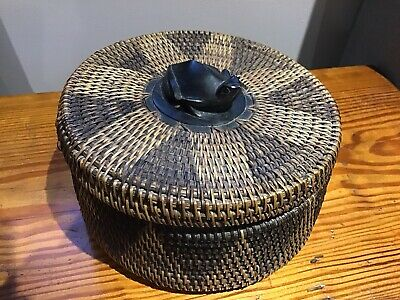 Vintage Tribal Round Woven Rattan Lidded Basket With Carved Wooden Frog On Lid