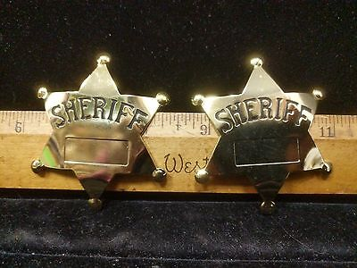 2X Vintage/Classic Toy Sheriff Badges, Metal, Gold Tone, -