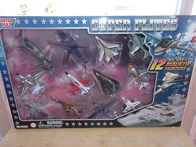 (Motor Max Super Flites Set of 12 Diecast Military Airplanes NIB #2)