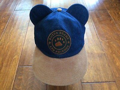 BEARWEAR Boyds Bears And Friends Denim Strapback Adjustable Hat w/ snap ears vtg