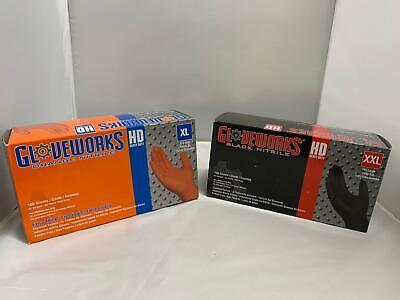 2 PK - NITRILE GLOVES - GLOVEWORKS ORANGE XL AND BLACK XX-LARGE, 100PC EACH BOX