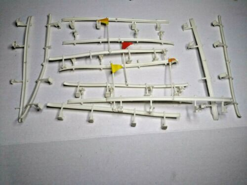Lot of 12 Vintage 1960s ELDON Plastic Guard Rails with Flags for Slot Car Track