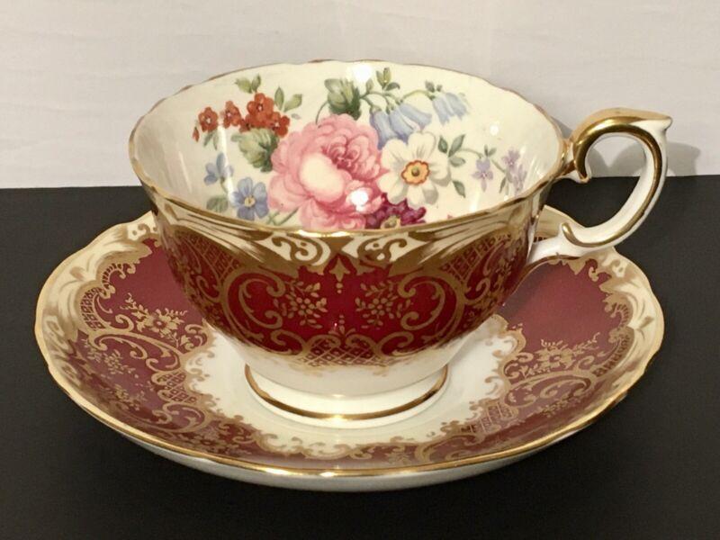 Crown Staffordshire Rare Deep Burgundy Tea Cup And Saucer Artist Signed JT Jones