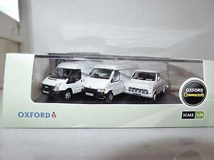 Oxford 76SET37 SET37  3 x Ford Transit Van  50th Mk1 MKIII MKV 5 Dealer White