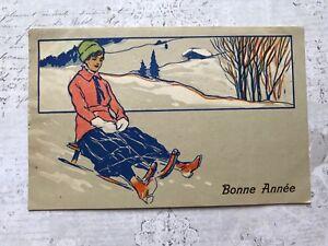 Art Deco Christmas Winter Country Lady Original Vintage Postcard