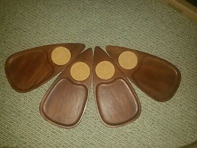 Vintage Cheese Boards Snack Tray Tear Drop w Coaster Hand Carved Japan Serv Wood