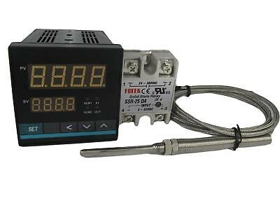 Universal Pid Temp Controller W Ssr And High Temp Probe 1250 Celcius 2 Alarms