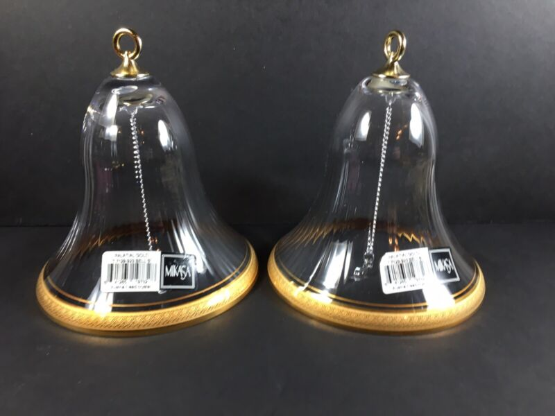 "MIKASA~Palatial Gold~Glass Bell~Gold Trim~5.25""~ Lead Crystal~set Of 2"