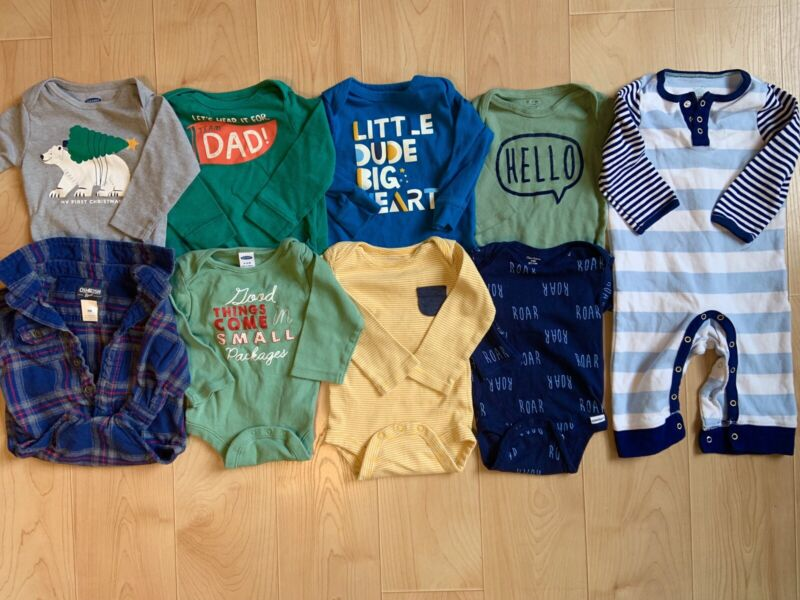 Baby Boy Clothes LOT 6-9 Months Fall Winter Pajamas Long Sleeve