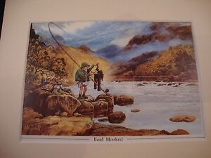 Norman Thelwell's Humourous Mounted Fishing Print - Foul Hooked