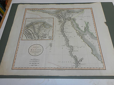 100% ORIGINAL LARGE EGYPT  MAP BY JOHN CARY C1805 VGC ORIGINAL COLOUR