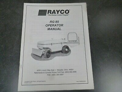 Rayco Rg 85 Stump Cutter Grinder Owner Operator Maintenance Manual
