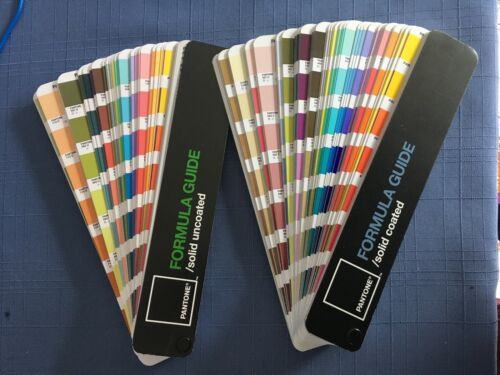 TWO PANTONE FORMULA GUIDES *Fandeck *Solid Coated & Solid Uncoated *Used