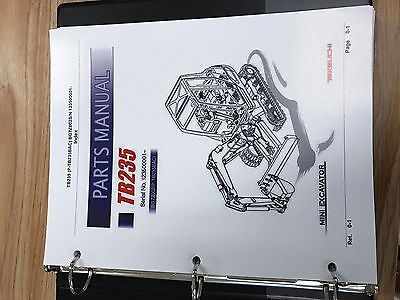 Takeuchi Tb235 Parts Manual Sn 123500001 And Up Free Priority Shipping