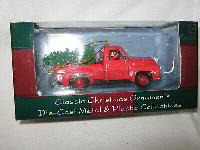 Red Die Cast Pick-up Truck with Xmas Tree