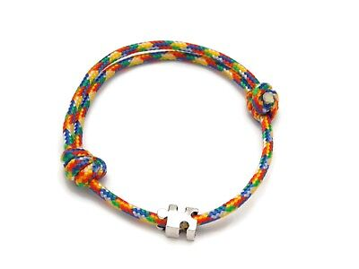 Autism Awareness Paracord Adjustable Slider Bracelet with Puzzle Piece Bead - Autism Jewelry