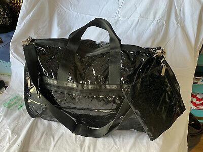 """LeSportsac Large weekender 7185 9704 """"Black Glitter"""" NWT FREE mini bag 50% off"""