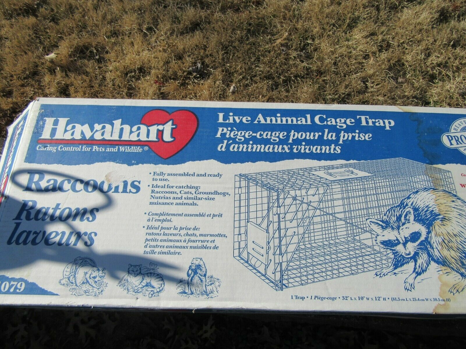 HAVAHART 1079 LIVE ANIMAL CAGE TRAP RACCOONS COON 32X10X12 S