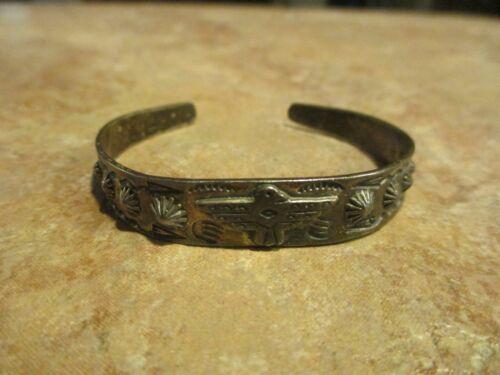 REAL OLD Fred Harvey Era Navajo Sterling Silver THUNDERBIRD Raindrop Bracelet