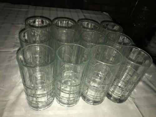 """12 ANCHOR HOCKING Tartan/Manchester Plaid Clear Glass Iced Tea TUMBLERS 16oz 6"""""""