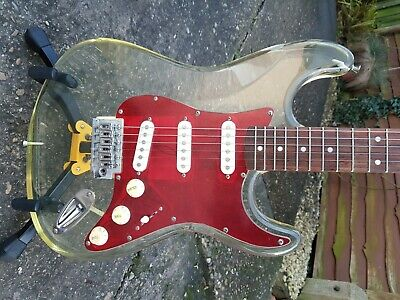 AXL Player Deluxe see through perspex acrylic Strat type Electric Guitar