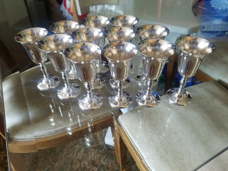 12 Sheffield Silver Co. Silverplate Cordial Goblets