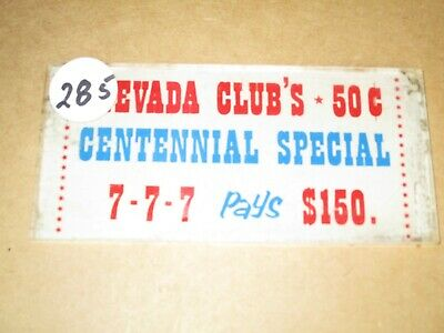 NEVADA CLUB CENTENNIAL SPECIAL $.50 Slot Machine Sign Replacement Part -