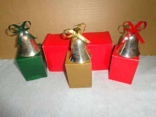 (3) International Silver Company Christmas Bell Ornament 1994 Silverplated W/BOX