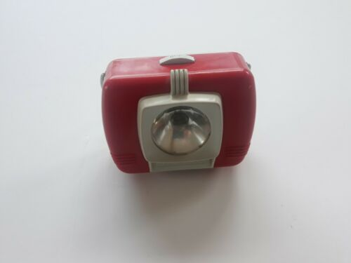 VINTAGE FLASHLIGHT MAGNA BEAM RED/WHITE 2C CELL LANTERN WITH MAGNET CIRCA 1970S?