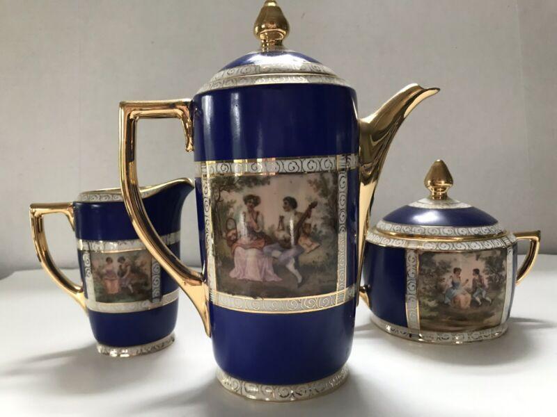 Set Vtg Antique Czech Beehive Mark Figural Cobalt Tea Coffee Pot Creamer Sugar