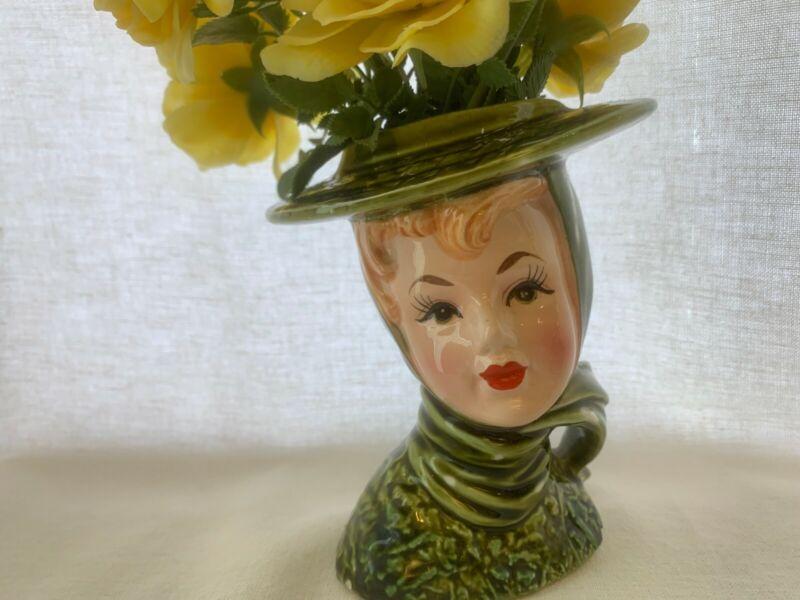 "Vintage Lefton Headvase/Head vase Green Lady with White Dots 5 1/2"""