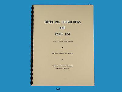 Powermatic No. 10 Hollow Chisel Mortiser Operating Parts List Manual 261
