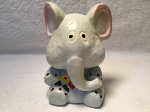 Vintage Gray Elephant Holding Flowers Piggy Bank Paradies Collection Ceramic