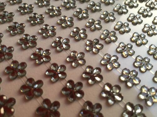 117 Selbsklebende Blumen 8mm Glitzersteinen Bordüren Straßsteine Basteln Graphit
