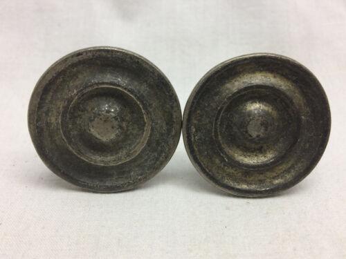 """2 Vtg Drawer Knobs Nickel Brass Ornate Design DIY Project Hardware 1 1/4"""""""