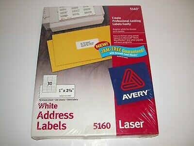 3000 Avery 5160 Address Mailing Shipping Labels 1 X 2 58 100 Sheets Sealed
