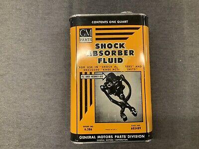 Vintage GM Parts Shock Arsorber Fluid Qt. Can Excellent Graphics & Color. Empty