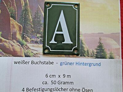 Haus-nr. (A  Emaille Haus Nr. Zusatz weißer Buchstabe grüner Hintergrund 6cm x 9cm ANr.9)