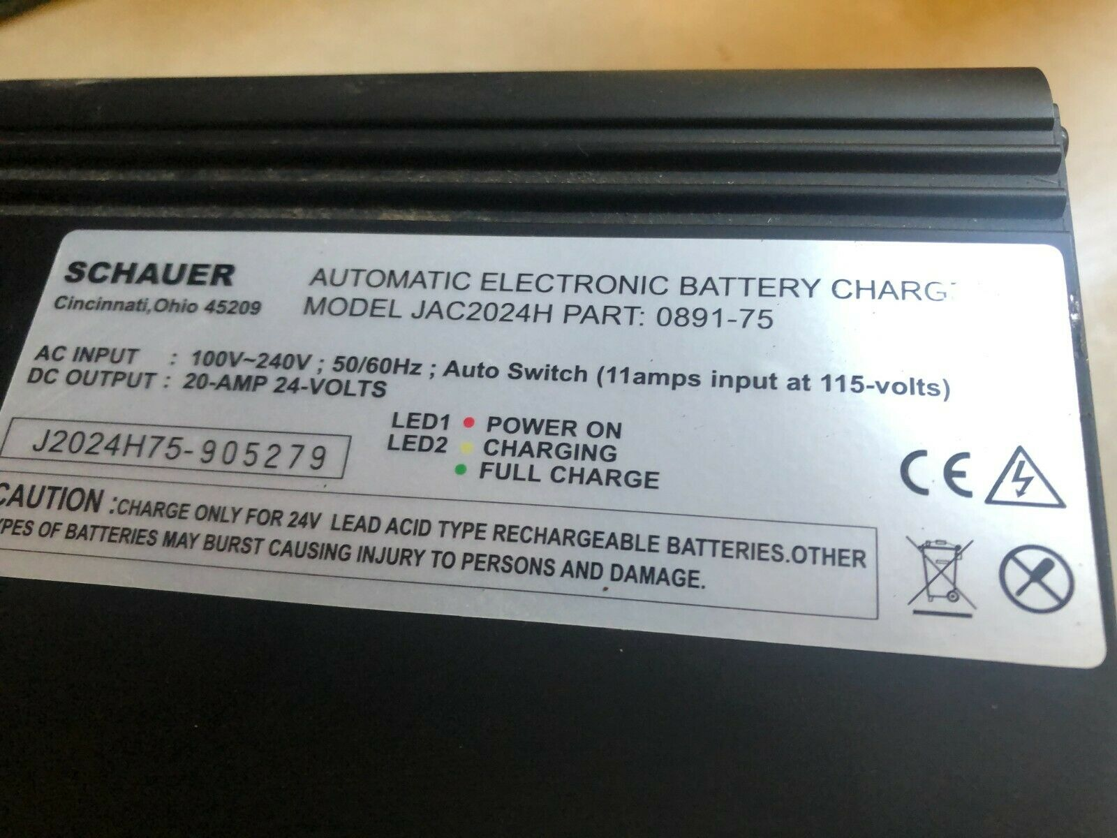 Schauer Model JAC2024H75- Battery Charger Model JAC2024C (Cessna 3 Hole Plug In)