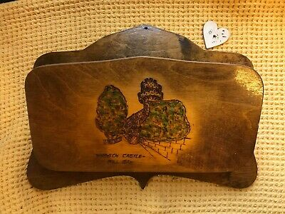 Vintage Solid Wooden Warwick Castle Newspaper Magazine Wall Rack pyrography