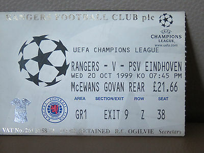 TICKET : GLASGOW RANGERS - PSV EINDHOVEN 20-10-1999 CHAMPIONS LEAGUE