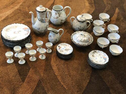 Vintage KUTANI Eggshell Porcelain Japanese Tea Set (42) Pieces Hand Painted Sign